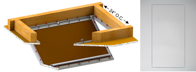 bauco attic hatch frameless finish diagram
